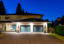 Home with exterior security lighting