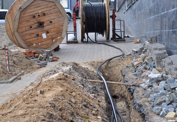 Commercial buried cable installation