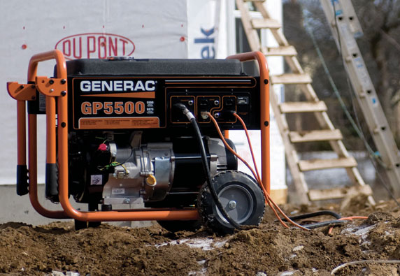 Portable generator under a tree house