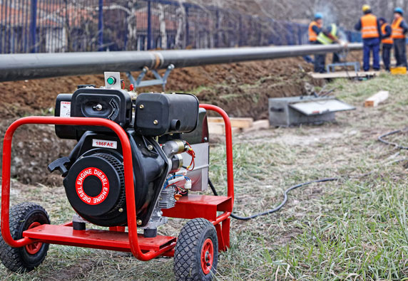 Portable generator at a construction site