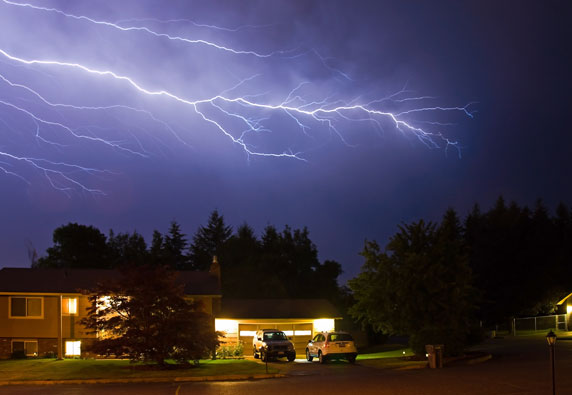 A Home Generator provides power during a lighting storm
