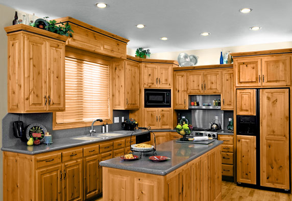 LED Lighting in a knotty pine themed kitchen