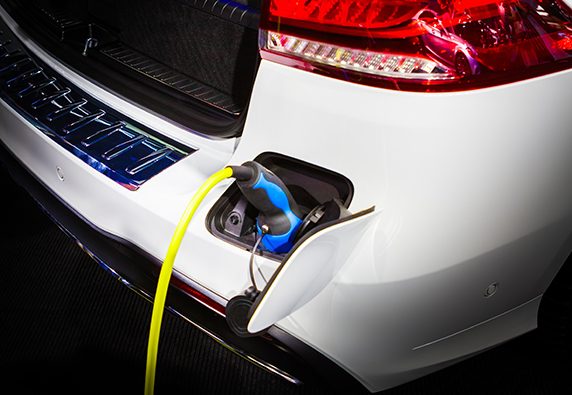 Electric car connected to high voltage home charging port