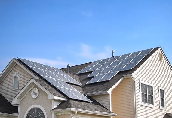 Gable mounted solar panels