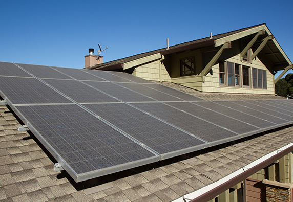 Solar panels on southern side of home roof
